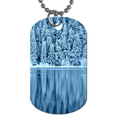 Snowy Forest Reflection Lake Dog Tag (one Side)