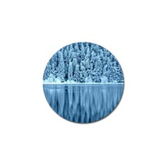 Snowy Forest Reflection Lake Golf Ball Marker by Alisyart