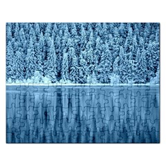 Snowy Forest Reflection Lake Rectangular Jigsaw Puzzl