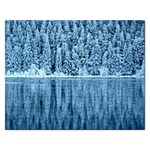Snowy Forest Reflection Lake Rectangular Jigsaw Puzzl Front