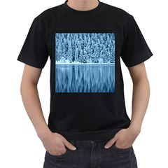 Snowy Forest Reflection Lake Men s T Shirt (black) (two Sided)