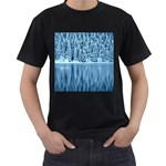Snowy Forest Reflection Lake Men s T-Shirt (Black) (Two Sided) Front