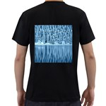 Snowy Forest Reflection Lake Men s T-Shirt (Black) (Two Sided) Back