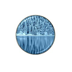 Snowy Forest Reflection Lake Hat Clip Ball Marker