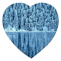 Snowy Forest Reflection Lake Jigsaw Puzzle (heart)