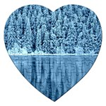 Snowy Forest Reflection Lake Jigsaw Puzzle (Heart) Front