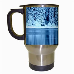 Snowy Forest Reflection Lake Travel Mugs (white) by Alisyart