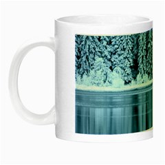 Snowy Forest Reflection Lake Night Luminous Mugs