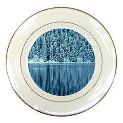 Snowy Forest Reflection Lake Porcelain Plates