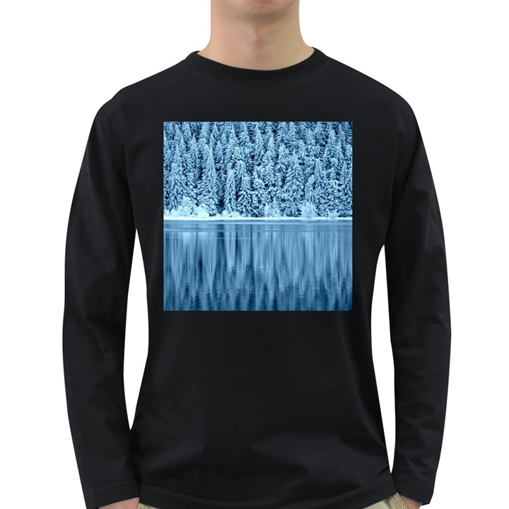 Snowy Forest Reflection Lake Long Sleeve Dark T-Shirt