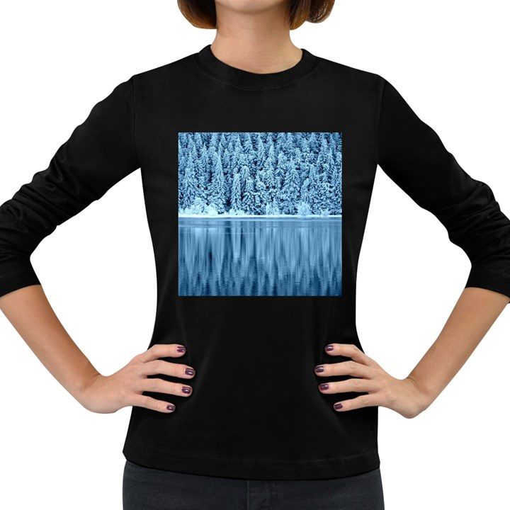 Snowy Forest Reflection Lake Women s Long Sleeve Dark T-Shirt