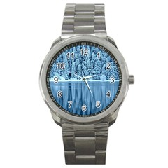 Snowy Forest Reflection Lake Sport Metal Watch