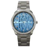 Snowy Forest Reflection Lake Sport Metal Watch Front