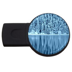 Snowy Forest Reflection Lake Usb Flash Drive Round (4 Gb)