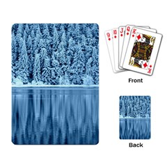 Snowy Forest Reflection Lake Playing Cards Single Design by Alisyart