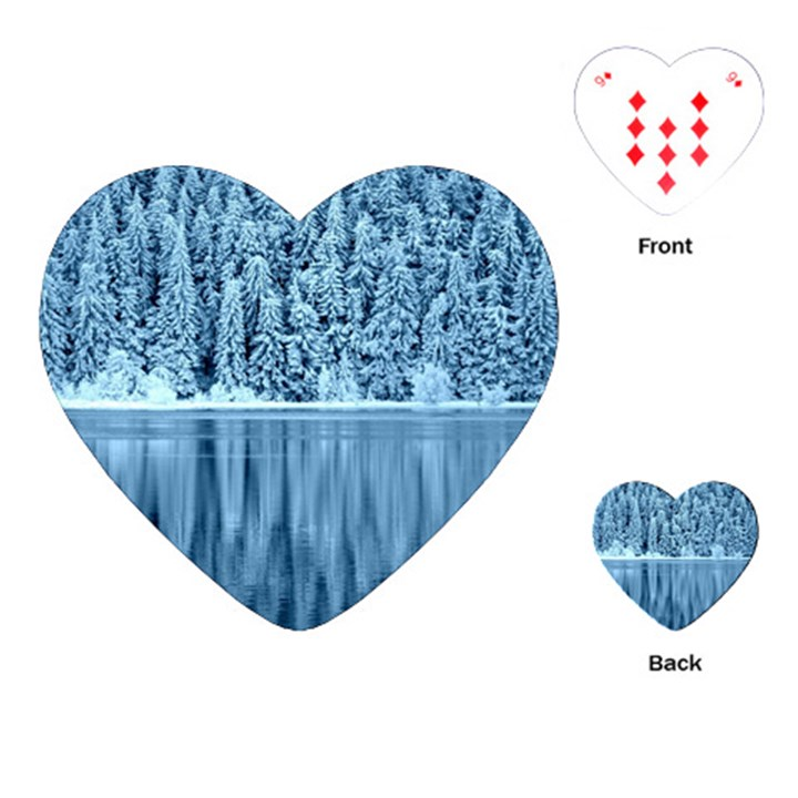 Snowy Forest Reflection Lake Playing Cards (Heart)