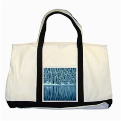 Snowy Forest Reflection Lake Two Tone Tote Bag by Alisyart