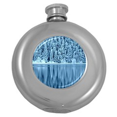 Snowy Forest Reflection Lake Round Hip Flask (5 Oz) by Alisyart