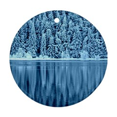 Snowy Forest Reflection Lake Round Ornament (two Sides)