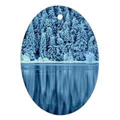 Snowy Forest Reflection Lake Oval Ornament (two Sides)