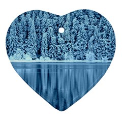 Snowy Forest Reflection Lake Heart Ornament (two Sides) by Alisyart