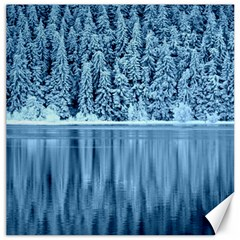Snowy Forest Reflection Lake Canvas 20  X 20