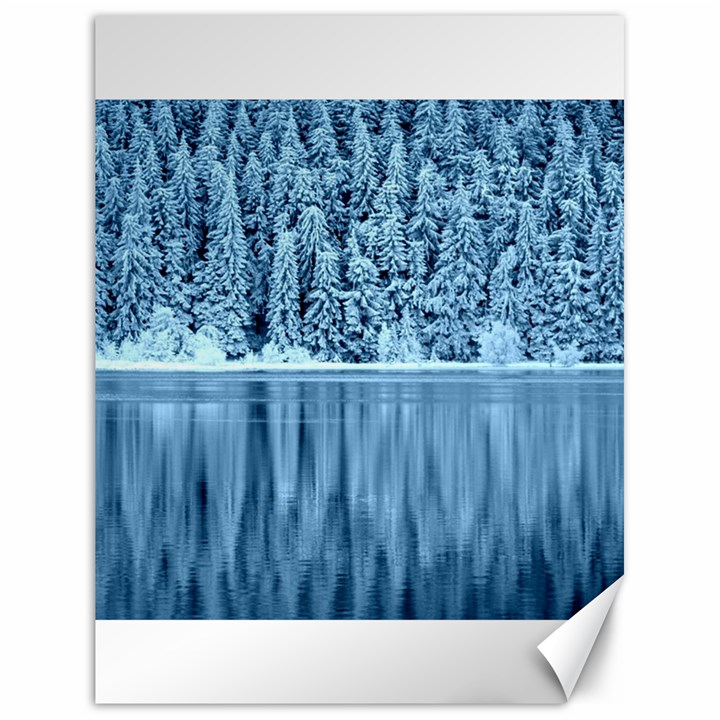 Snowy Forest Reflection Lake Canvas 18  x 24