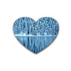 Snowy Forest Reflection Lake Rubber Coaster (heart)  by Alisyart
