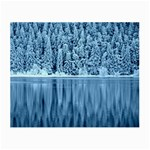 Snowy Forest Reflection Lake Small Glasses Cloth (2-Side) Front