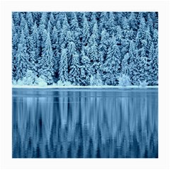 Snowy Forest Reflection Lake Medium Glasses Cloth (2 Side) by Alisyart