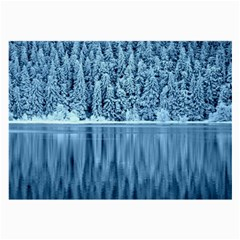 Snowy Forest Reflection Lake Large Glasses Cloth (2 Side)