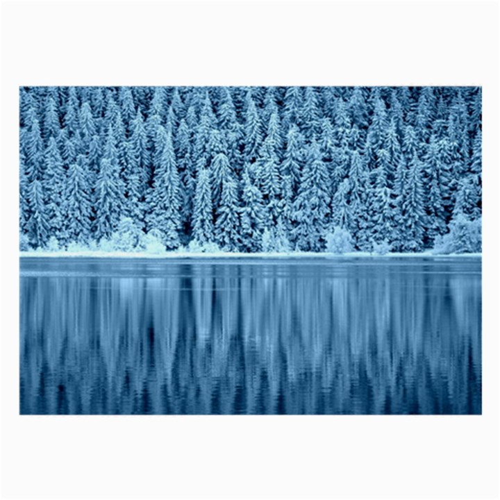 Snowy Forest Reflection Lake Large Glasses Cloth (2-Side)