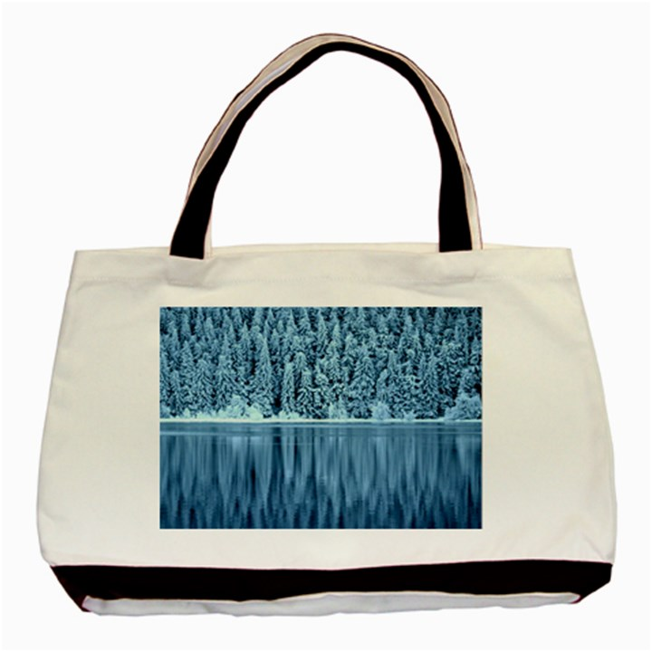 Snowy Forest Reflection Lake Basic Tote Bag (Two Sides)
