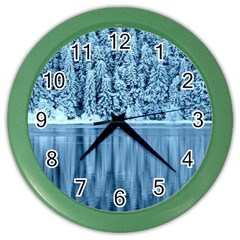 Snowy Forest Reflection Lake Color Wall Clock by Alisyart
