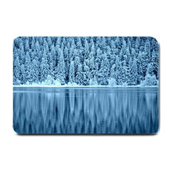 Snowy Forest Reflection Lake Small Doormat  by Alisyart