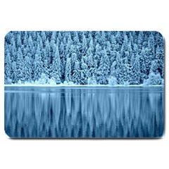 Snowy Forest Reflection Lake Large Doormat  by Alisyart
