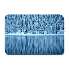 Snowy Forest Reflection Lake Plate Mats
