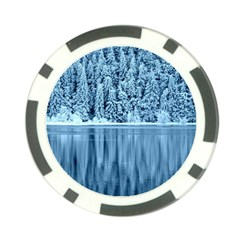 Snowy Forest Reflection Lake Poker Chip Card Guard