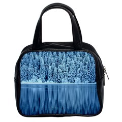 Snowy Forest Reflection Lake Classic Handbag (two Sides)
