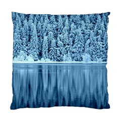 Snowy Forest Reflection Lake Standard Cushion Case (one Side) by Alisyart