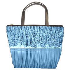 Snowy Forest Reflection Lake Bucket Bag by Alisyart