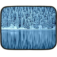 Snowy Forest Reflection Lake Double Sided Fleece Blanket (mini)  by Alisyart