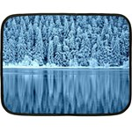 Snowy Forest Reflection Lake Double Sided Fleece Blanket (Mini)  35 x27 Blanket Front