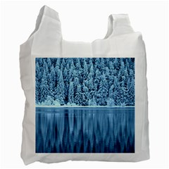 Snowy Forest Reflection Lake Recycle Bag (two Side) by Alisyart