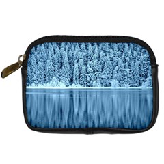 Snowy Forest Reflection Lake Digital Camera Leather Case