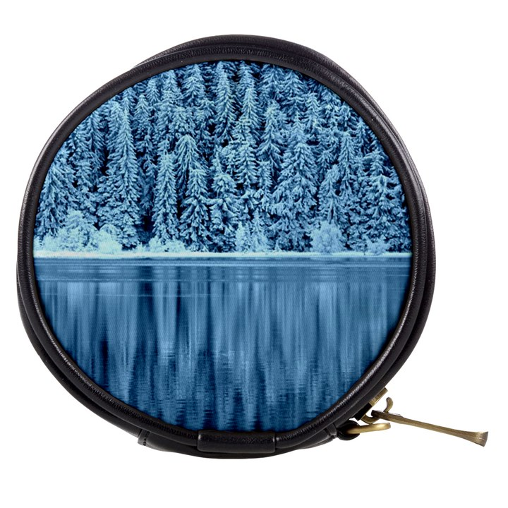 Snowy Forest Reflection Lake Mini Makeup Bag