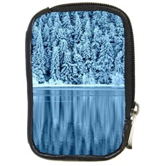 Snowy Forest Reflection Lake Compact Camera Leather Case by Alisyart