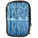Snowy Forest Reflection Lake Compact Camera Leather Case Front