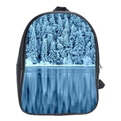 Snowy Forest Reflection Lake School Bag (large)