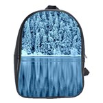 Snowy Forest Reflection Lake School Bag (Large) Front